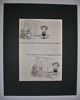 Dog Cartoon Print Norman Thelwell Escape Proof Fence Bookplate 1964 8x10 Matted