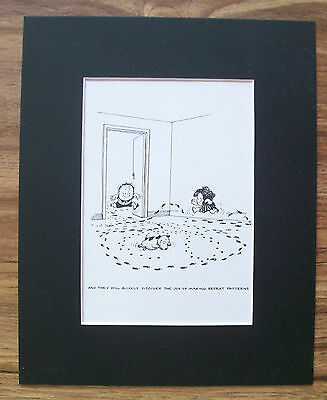 Child Dog Cartoon Print Norman Thelwell Repeat Pattern Bookplate 1977 8x10 wMat