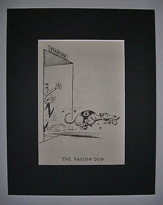 Dog Cartoon Print Norman Thelwell Racing Steal Rabbit Bookplate 1964 8x10 Matted