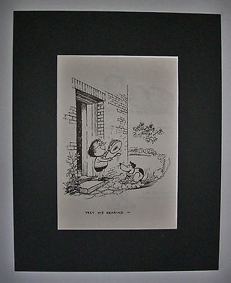 Dog Cartoon Print Norman Thelwell Test His Hearing Bookplate 1964 8x10 Matted