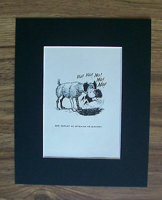Dog Child Cartoon Print Norman Thelwell Repeat Command Bookplate 1964 8x10 W Mat