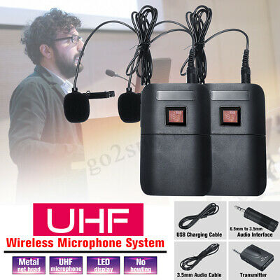 UHF Dual-Channel Wireless Lavalier Microphone System 2 Transmitter W/ 1 Receiver