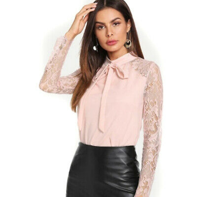Women Ladies Crew Neck Long Sleeve Lace Casual Tops Blouse Sexy T-Shirt LH