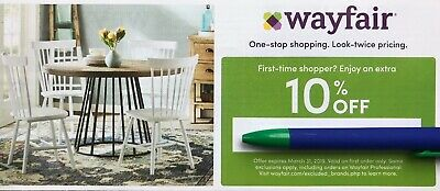 Wayfair Coupon 10% off your FIRST ORDER only, exp. 3/31/19