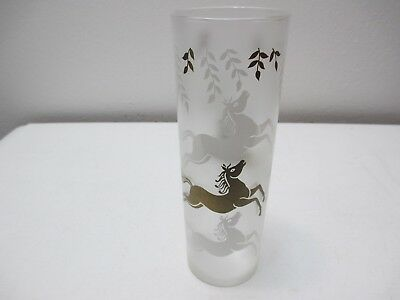 "Vintage Libbey Frosted Highball or Ice Tea Glass 7"" Tall White Gold Horses"
