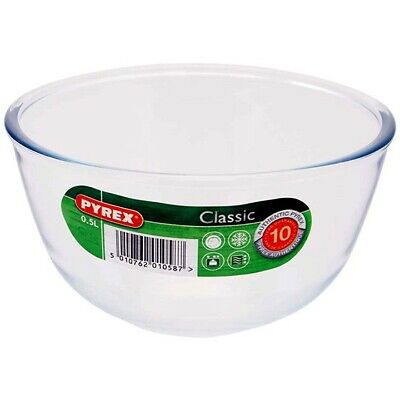 Pyrex Classic Traditional Glass Mixing Pudding Bowl Basin 500ml 1L 2L or 3L
