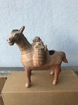Ancient Pre Colombian? Pottery Sculpture Bottle Donkey Carry Baskets Figure