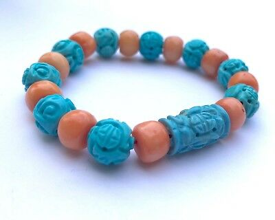 Natural Undyed SALMON Coral & TURQUOISE CARVED CHINESE Shou Beads Bracelet