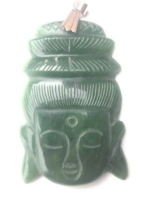 Old Chinese Nephrite Jade Carved Kwan Yin Pendant 14k Gold Hook