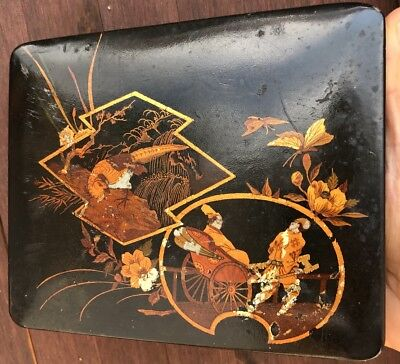 Fine Old Japanese Hand Painted Gold Gilt Lacquer Wood Box Meiji Period w/Key