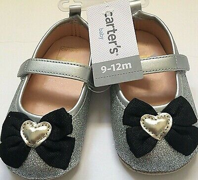54e10218cd902 CARTERS BABY GIRL Crib Shoes 9-12M Silver Black Bow New -  16.99 ...