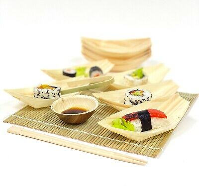50 X Wood Bamboo Serving Boat/Bowl Disposable Eco Natural Catering Snacks Party