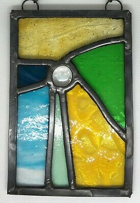 Leaded Stained Glass Panel Suncatcher Wall Hanging - Abstract 15cm x 9.5cm L014