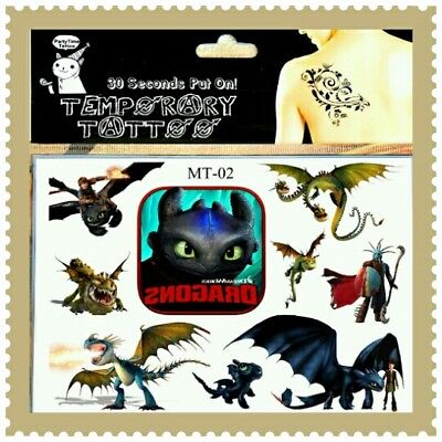 1x HOW TO TRAIN YOUR DRAGON Temporary Tattoos Kids Cartoon Body Art Dreamworks ☆