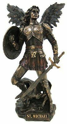 St. Michael Archangel Standing On Demon Statue Sculpture Figure RELIGIOUS GIFT!