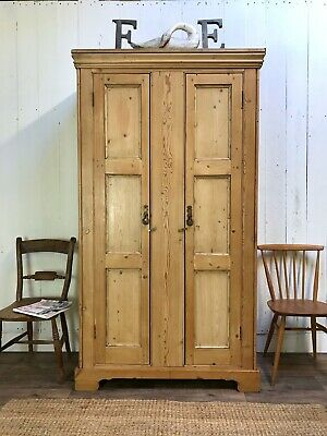Antique Pine Wardrobe, Housekeepers cupboard, Armoire Linen Press, pine cupboard