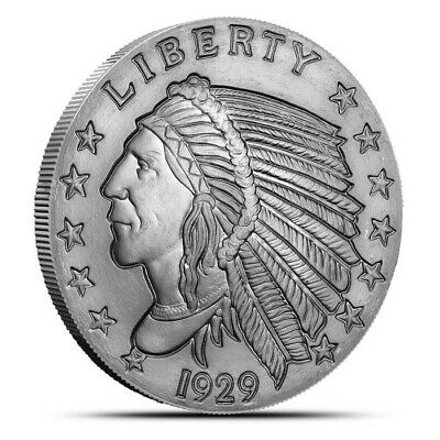 2 Troy Ounce Silver Round | Incuse Indian | .999 Fine