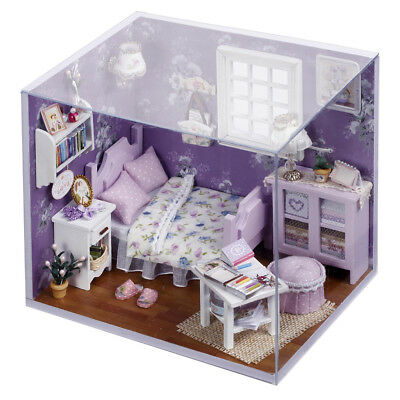 Romantic Summer Doll House LED Dollhouse Cabin Miniature Kit DIY Xmas Gift