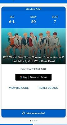 Bts Tickets Rose Bowl Pasadena Section 6L - Row 50  - 4 Tickets Available