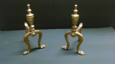 Vintage Brass Fire Dogs / Andirons Fireplace Accessories Fire Irons