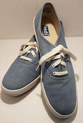 8b80dd6310b Keds Womens 10 Vintage Champion Oxford Blue Chambray Classic Canvas Sneakers