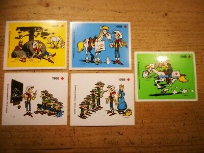 Set 5 stickers LUCKY LUKE  1988 made by RED CROSS BELGIUM DARGAUD autocollant R1