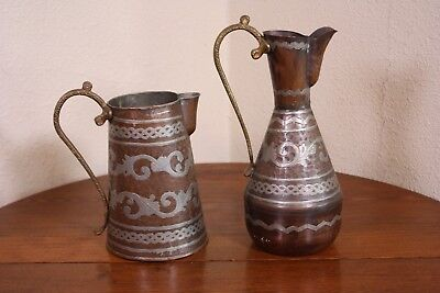 A Copper Pitchers Ewer Lot of 2 Vtg Antique Brass & Silver Tin Fancy Middle East