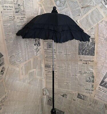 Antique Victorian mourning parasol, folding, childs