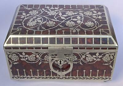 Exceptionally Rare Erhard & Söhne Art Nouveau Box: silver/burr walnut