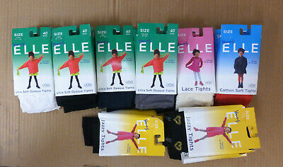 24 Pairs Assorted Girls Elle Opaque & Jazzy Fashion Tights Size 6-7 Years Joblot