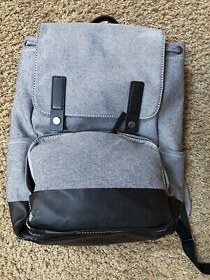 EVERLANE - THE Modern Snap Backpack in navy twill   black leather ... bfcbf109b44b5