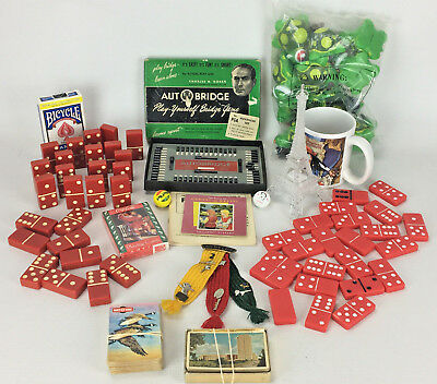 Junk Drawer Toy Lot - Dominoes, Playing Cards, Bridge, Cup, Turtles and More
