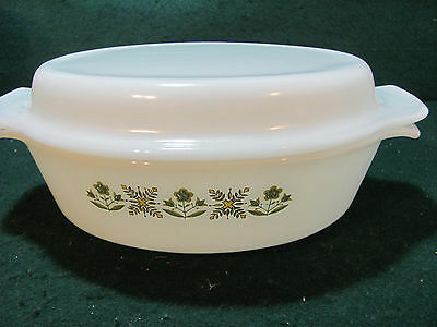 Vintage Anchor Hocking Fireking 1 Qt Covered Casserole Dish Meadow Green