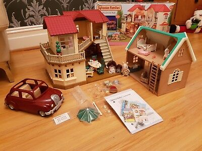 Sylvanian Families Bundle Fully Furnished Beechwood Hall Ivy Cottage Saloon Car