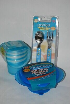 Griptight, Weaning Set, Bundle, Suction Base Bowl, Pots, Cutlery, Blue