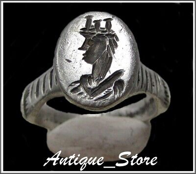 ** WOMEN ENGRAVED **Ancient Silver Roman Ring **AMAZING **
