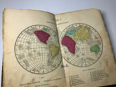 1855 The Key Mitchells Manual Geography Maps Hand Colored Atlas World Antique