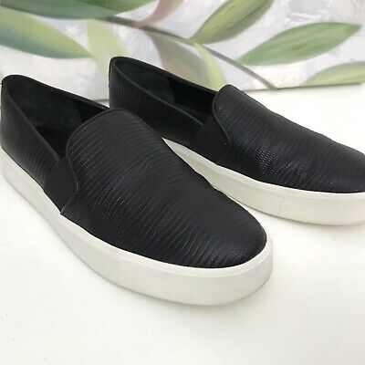 c5a11d170 WOMENS VINCE BLAIR Perforated Leather Sneakers sz 9 Black Slip On ...