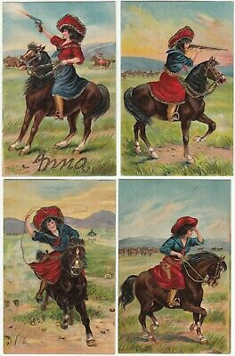 SUPER Set of 4 Postcards - Cowgirl Horse Gun Rifle Roping 1908 Embossed Western