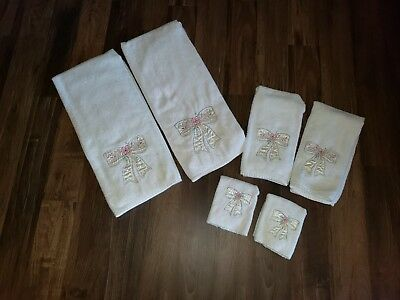 6 Pc Vintage Cannon Bath Set Bath and Hand Towel and Washcloth White with Bows