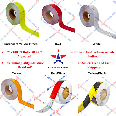"Conspicuity Tape DOT-C2 Reflective Tape  2""x150' Feet Commercial Roll Red/White"