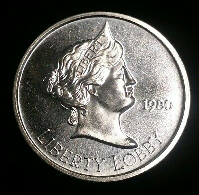 1980 Liberty Lobby One Silver Eagle 1 oz .999 Fine Silver Round Free Shipping!