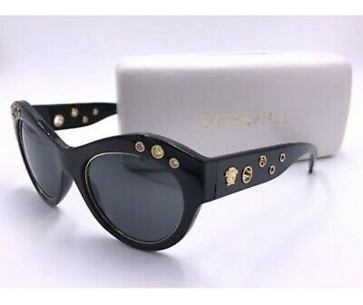 92ce934d7bc VERSACE VE4320 SUNGLASS GB1 87 MEDUSA Gloss Black  Gold AUTHENTIC MOD.4320  ITALY