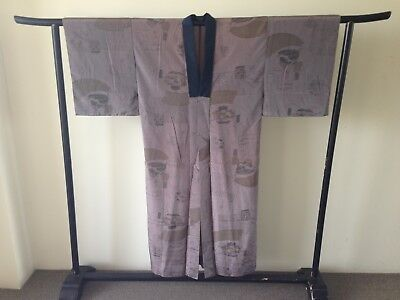Japanese Kimono Art Vintage Men's Costume Robe One of a Kind Samurai Old Kyoto