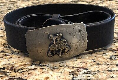Polo Ralph Lauren Men's Belt Brown Small Buckle Bull Rider Rodeo  Leather NWT