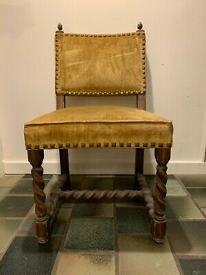 Vintage Carved Oak w/ Gold Velvet Side Chair by Jamestown Lounge Company 1960's