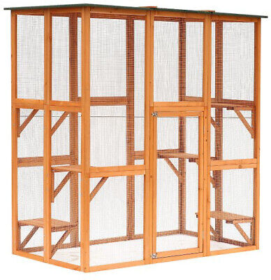 Outdoor Cat Run Enclosure Wooden Fun Small Animal Shelter Pet House Wood Cage