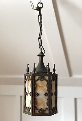 Antique Arts & Crafts Mission Cast Caramel Slag Pendant Ceiling Light Gothic