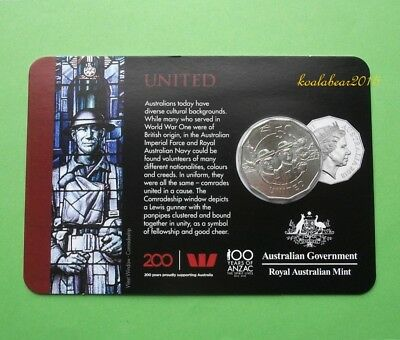 Australia 2018 Anzac Spirit Collection 50c Fifty Cent United Coin..