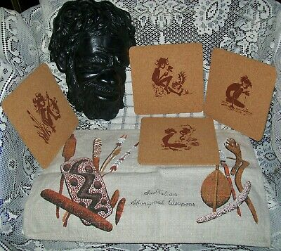 6 x VINTAGE ABORIGINAL COLLECTABLES:  wall plaque 24x16cm, 4 x coasters + mat